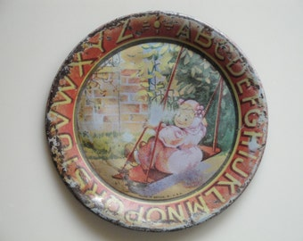 SMALL Childs Plate | ABC Plate | Tin Childs Plate | Alphabet Plate