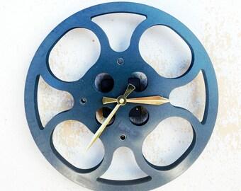 Clock, Movie Reel Clock, Wall Clock, 16mm Metal Movie Reel Clock, Recycled, Upcycled Gift Item #1