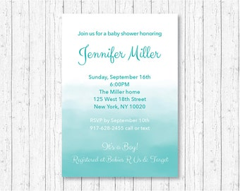 Modern Blue Ombre Baby Shower Invitation / Ombre Baby Shower Invite / Watercolor Baby Shower Invite / Blue Watercolor / PRINTABLE A174