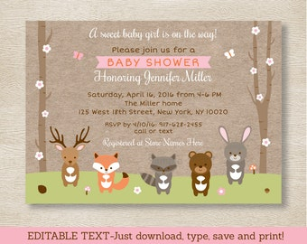 Pink Woodland Animals Baby Shower Invitation / Woodland Baby Shower / Girl Forest Animals / Editable PDF INSTANT DOWNLOAD