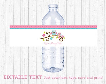 Cute Pink Owl Water Bottle Labels / Owl Baby Shower / Pink & Blue Owl / Baby Girl Shower / INSTANT DOWNLOAD Editable PDF