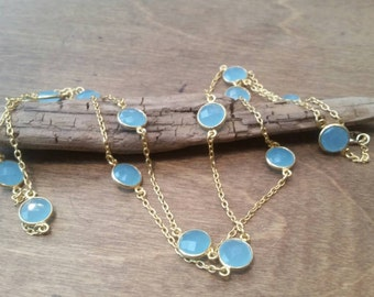 Blue Chalcedony Stone Gold Necklace