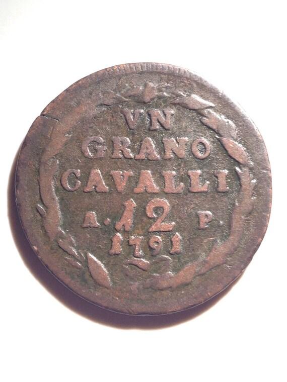 1791 1 Grano Cavalli Regno di Napoli Ferdinando IV di Borbone