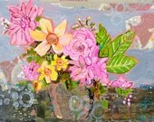 Mixed Media Collage Floral Painting, Original Artwork, One of a Kind Art, 16X20 Mat