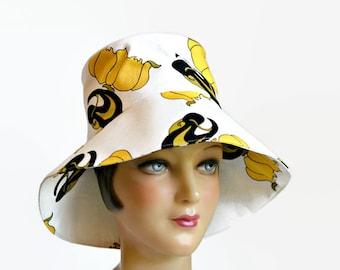 SALE - Women's Sun Hat in Canvas - Summer Hat - Retro Sun Hat