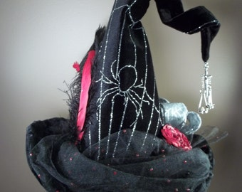 Witch Hat Made to Order Halloween Costume Accessory Cosplay Millinery Black Velvet Sparkle Spider web Feathers Bows Charm Red Silver Black