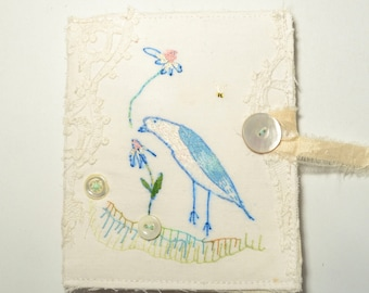 Reduced in price ... Needle case - pin keep. One of a kind artwork - hand embroidered - bird and flower