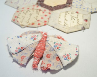 Brooch or Pin : hand stitched Butterfly made from vintage Yo Yo's / Suffolk Puffs.