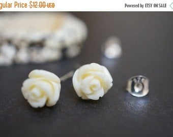 AUTUMN SALE Barbie Doll Simple and Elegant Soft Ivory White Coral Flower Earring Sterling Silver Studs 8mm - 1 pair