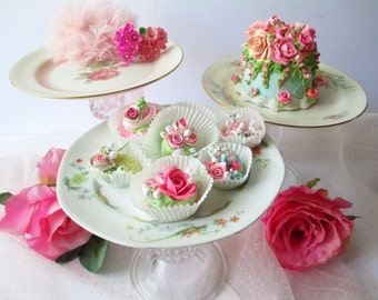 Cupcake Dessert Stands Floral Pink Set of Three - Vintage Chic Weddings