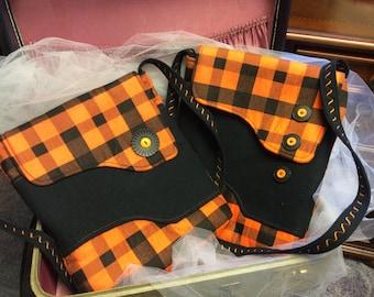 Orange & Black School Colors Crossbody Purse or iPad Case