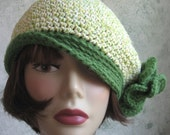 Womens Crochet Hat Banded Beret With Flower Trim Fits Head Sizes 21- 22 Inch