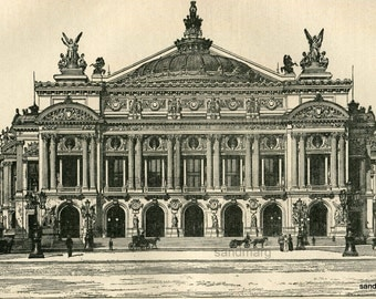 Antique  French Architecture Print Facade of the Grand Opera House Palais Garnier  Paris France 1897