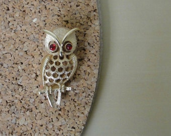 Vintage Avon Owl Pin with Red Eyes