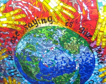 Round Table top Glass on Glass Mosaic of the World Hands Spiral stating All We Are Saying is Give Peace a Chance.