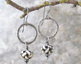 silver and bone earrings, tribal dangle earrings, rustic bone earrings, boho silver and bone earrings