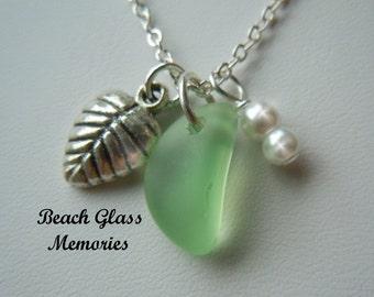 Sale Green Sea Glass Necklace Autumn Leaf Beach Glass Necklace Seaglass Jewelry