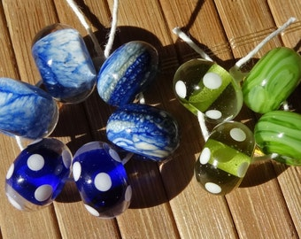 Blues and Greens Mixed Set--5 pairs--Great for Earrings--Handmade LAMPWORK Bead Set