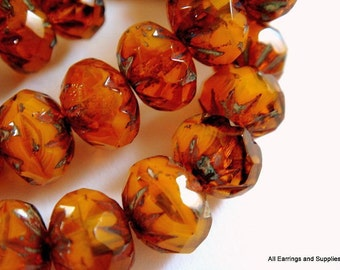 10 Orange Czech Bead Picasso Cruller Amber Bead Faceted Glass Bead 9x6mm Rondelle Bead - 10 pc - G6042-OP10