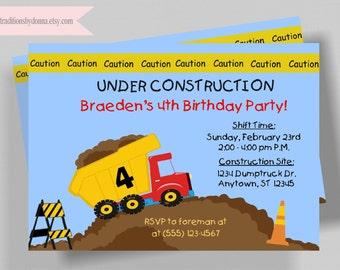 CONSTRUCTION INVITATION/ Printable DIY Invitation/Dump Truck Birthday Party Invitation for Boys Birthday Party