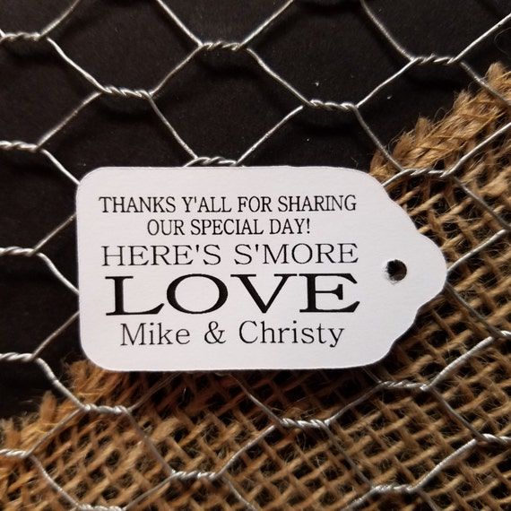 "Smore Love Thank yall Thank y'all Choose your quantity SMALL 2"" Favor Tag"
