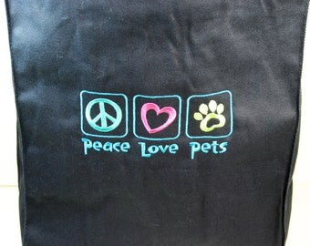 DragonEmbroidery's 'Peace Love Pets' Grocery Tote in Navy Blue Handmade4Hounds
