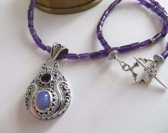 Amethyst Necklace With Opal & Sterling Pendant, Gift For Mom
