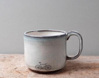 Blue Ceramic Bike Mug