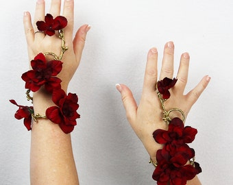 Wristlet Set in Gold and Red, Fairy Bracelet, Floral Wrap, Wedding Accessory, Costume