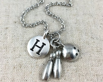 Bowling Necklace, Personalized Bowling Charm Necklace, Monogrammed Initial Jewelry, Personalized Gift, Silver Bowling Charm