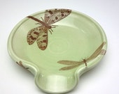 ON SALE Sage green glazed porcelain spoon rest with dragonflies
