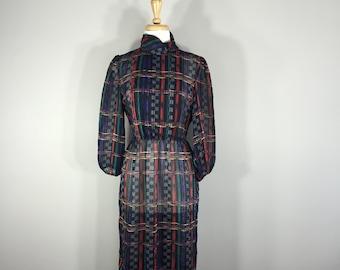 Vintage Sheer Leslie Fay dress, Black print dress, Black Sheer dress, 1980s elastic waist dress, Plaid print dress