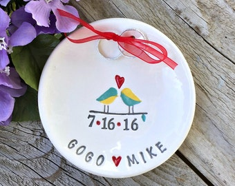 Love Birds Custom Ring Bearer Bowl, Personalized Wedding Keepsake, Ring Pillow,Ring Pillow Alternative, Wedding Ring Holder,Ring Warming