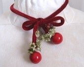 velvet choker .  chocker . red velvet chocker .  choker with cherries and bird . 40s tied choker