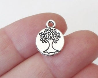50 BULK Family Tree, Tree of Life Charms (double sided)  14.8x11.5x1.5mm, Hole: 2mm