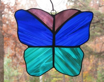 Stained Glass Suncatcher - Butterfly in Cobalt Blue, Teal Green, & Purple (Clearance)