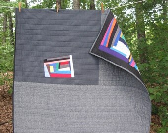 modern, nap quilt, picnic quilt, improv, wonky ..CUSTOM Order to your size