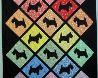 MADDY AND McDUFF Scottie Dog Applique Quilt from Quilts by Elena Scotties on 1930s reproduction background