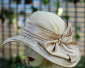 Vintage Style Hats for Weddings Summer, Garden Party Hat, Tea Party, Races, Beaded, Lace, Downton Abbey Beige Champagne