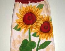 Crochet Top Sunflower Towel - Hanging Sunflower Towel - Hanging Kitchen Towel - Dish Towel - Kitchen Towel - Bright Sunflowers - Plush Towel