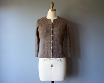 vintage cashmere cardigan / angora brown cable knit sweater / j crew cardigan / sm