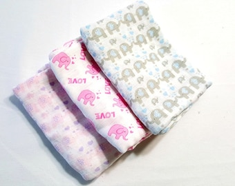 Baby Swaddle Blanket, Breathable Muslin Baby Blanket Choice of 3