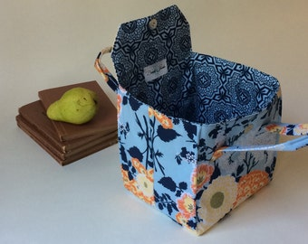 Insulated Lunch Bag in Large Orange and Blue Floral - Bento Box Carrier or Lunch Tote