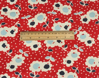 4211 - Retro Floral (Dark Red) Cotton Canvas Fabric - 55 Inch (Width) x 1/2 Yard (Length)