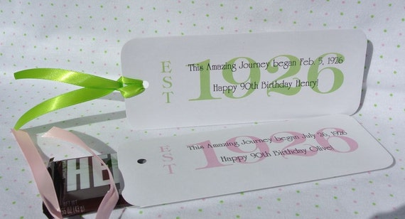 Favors for a 90th Birthday Party - 90th Birthday - Candy Bar Holders Birthday - Adult Birthday Favors