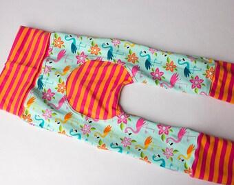 Maxaloones, Flamingo cloth diaper pants, babywearing pants, grow with me pants