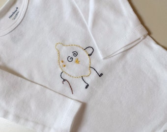 Old Sour Lemon Hand Embroidered Bodysuit