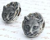 Cat Earrings, Steampunk Earrings, Vintage Watch Movement, Silver, Handmade, Wedding Earrings, Recycled, 1950's Jewelry, Industrial Jewelry