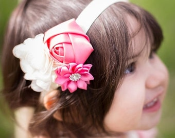 SALE Pink Baby Headband - Infant Pink Headband -  Pink and Ivory Headband - Girl Headband - Photography Prop