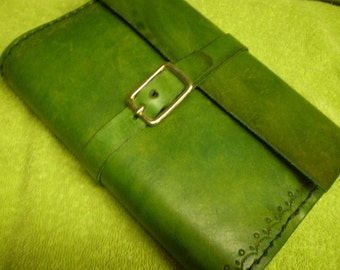 Spring Green Leather Journal Cover With Fold Over Belt Loop Closure